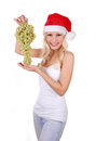 Santa girl in Christmas hat with bunch of grapes Royalty Free Stock Image