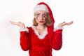 Santa girl cries humor heart all Royalty Free Stock Photography
