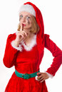 Santa girl cries humor heart all Stock Image
