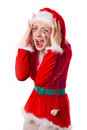 Santa girl cries humor heart all Stock Photography