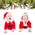 Santa girl funny little and boy isolated on white Stock Image
