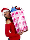 Santa Girl with gifts Royalty Free Stock Images