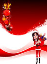 Santa girl with gifts on red background and balls Royalty Free Stock Photo
