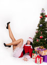 Santa girl hermosa aislada en blanco Imágenes de archivo libres de regalías