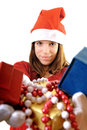 Santa girl with a lot gifts Royalty Free Stock Photo