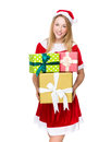 Santa girl with lots of giftbox christmas woman isolated on white Royalty Free Stock Photos
