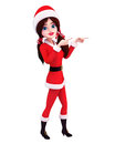 santa girl is pointing towards blank Stock Photo