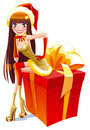 Santa girl on a present box Royalty Free Stock Image