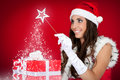 Santa girl, present, magic, red Stock Image