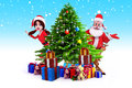 Santa girl with santa claus and many gifts Stock Photo