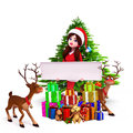 Santa girl with sign and christmas tree Royalty Free Stock Photo