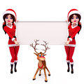 Santa girl with sign  on white background Royalty Free Stock Photos