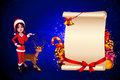 Santa girl is talking about a big sign Royalty Free Stock Images