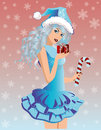 Santa girl with xmas gift vector illustration Royalty Free Stock Images