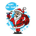 Santa with a glass of wine illustration format eps Stock Photos