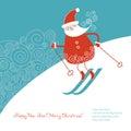 Santa go alpine skis Royalty Free Stock Photo