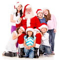 Santa with a group of kids Stock Photo