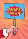 Santa Hand Hold Merry Christmas Banner Pop Art Comic Background Poster Design Winter Holiday Greeting Card Royalty Free Stock Photo