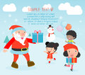 Santa handing out gifts to children,Christmas poster design with Santa Claus, Santa With Kids Royalty Free Stock Photo