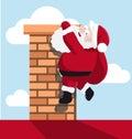 Santa hanging on the chimney illustration Royalty Free Stock Photos
