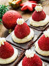 Santa hat brownies Royalty Free Stock Images