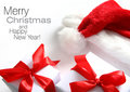 Santa hat & chrismas box (easy to remove the text) Royalty Free Stock Images