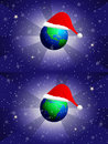 Santa hat on the globe Royalty Free Stock Photo