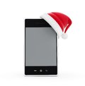 Santa hat phone Stock Photography