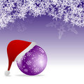 Santa hat and purple bauble Stock Images
