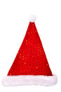 Santa hat with sequins top view of a red isolated on white background Stock Photo