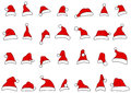Santa hats doodles Royalty Free Stock Images