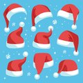 Santa hats. Red christmas santa hat design set, holiday masquerade costume decoration, funny party festive headwear Royalty Free Stock Photo