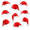 Santa hats set of red claus on white background Stock Images