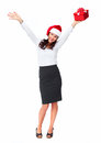 Santa helper business woman with a present christmas girl gift isolated on white background Stock Image