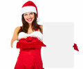 Santa helper christmas girl with banner beautiful isolated on white background Royalty Free Stock Photography
