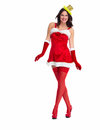 Santa helper christmas girl beautiful isolated on white background Royalty Free Stock Photo