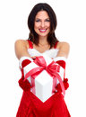 Santa helper christmas girl with a present beautiful gift isolated on white background Royalty Free Stock Images