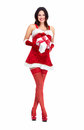 Santa helper christmas girl with a present beautiful gift isolated on white background Royalty Free Stock Photo