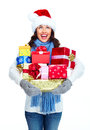 Santa helper christmas girl with a presents beautiful gifts isolated on white background Royalty Free Stock Image