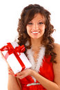 Santa helper girl Royalty Free Stock Photography