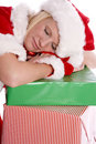 Santa helper head down asleep Stock Photo