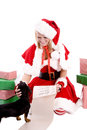 Santa helper with list and dog Royalty Free Stock Image