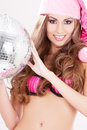 Santa helper in pink lingerie with disco ball sexy Royalty Free Stock Photography