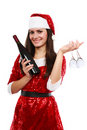 Santa helper with wine and glasses Stock Photos
