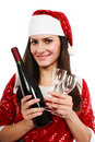 Santa helper with wine and glasses Royalty Free Stock Images