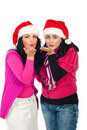 Santa helper women blow kisses Stock Images