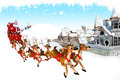 Santa and his sleigh coming from sky Stock Photography