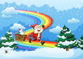 Santa and his sleigh walking at the rainbow illustration of Royalty Free Stock Photos