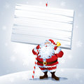 Santa holding a blank sign with snowing background mainly applied in red and cool grey all grouped and layered separately in the Royalty Free Stock Photos