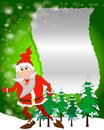 Santa holding a blank sign with snowing background. Royalty Free Stock Photo